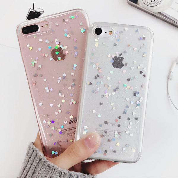 Transparent Heart Glitter Cases