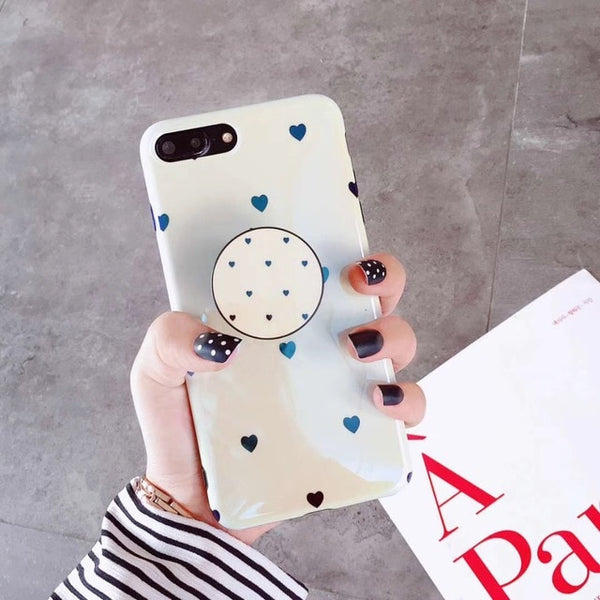 Black Polkadot Heart Case