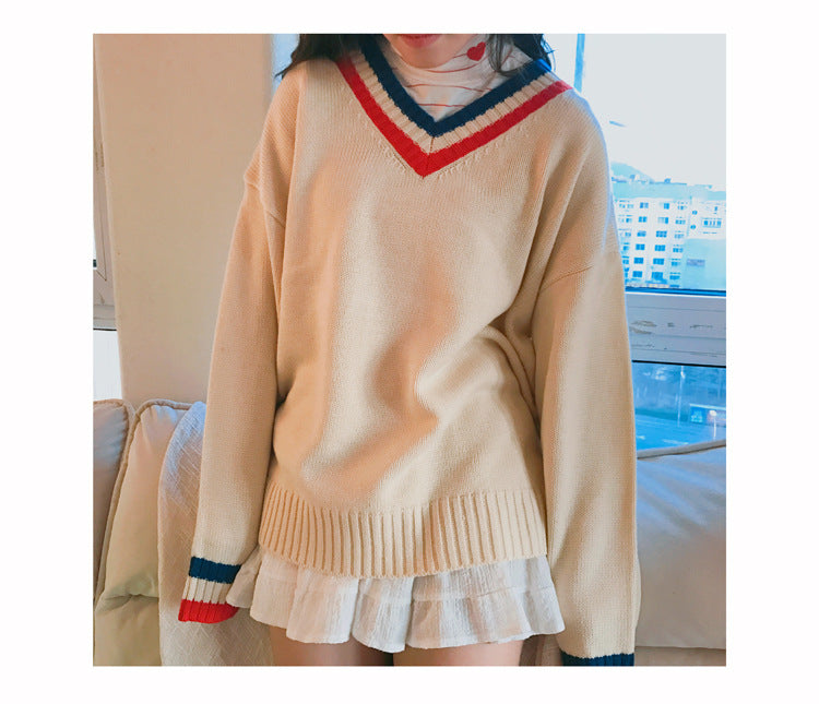 Colourblock V-neck Sweater
