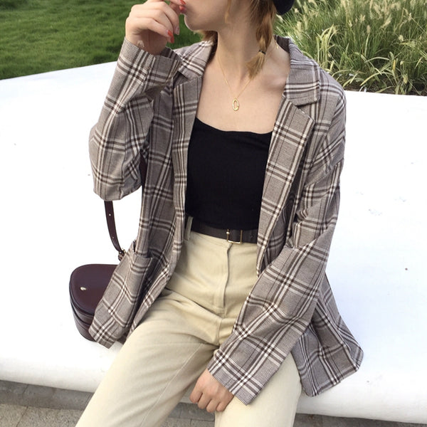 Thin Plaid Blazer