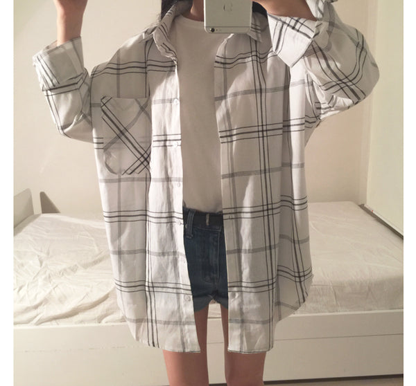 Oversized Lattice Plaid Shirt