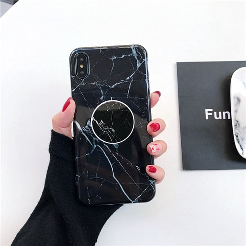 Glossy Marble Case + Free Pop Holder