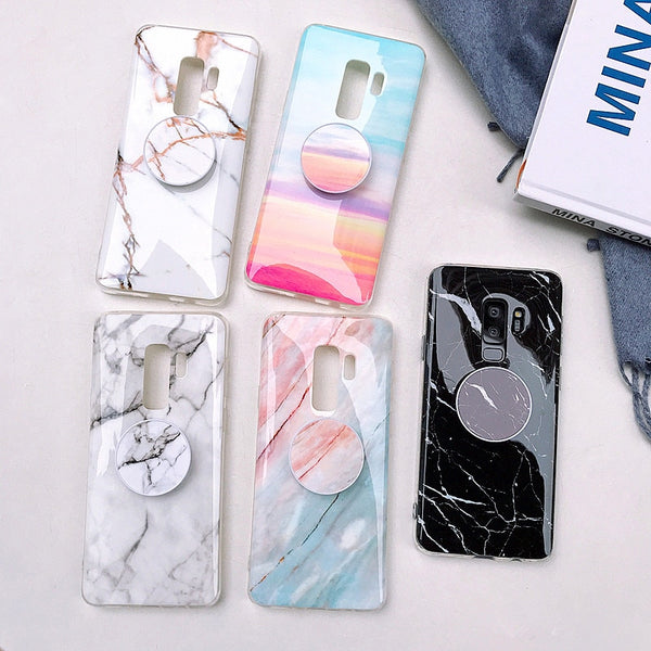 Glossy Marble Case + Free Pop Holder (Samsung)