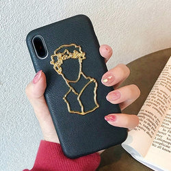 Metallic Faux Leather Statue Case