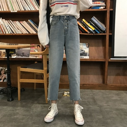 High Waist Buttoned Mom Jeans
