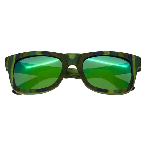 Spectrum Kalama Wood Polarized Sunglasses - Green Stripe/Green SSGS104GN