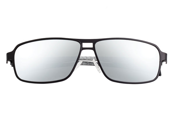 Breed Meridian Titanium and Carbon Fiber Polarized Sunglasses - Black/Silver BSG003BK