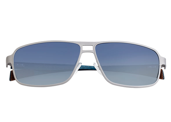 Breed Meridian Titanium and Carbon Fiber Polarized Sunglasses - Silver/Blue BSG003SR