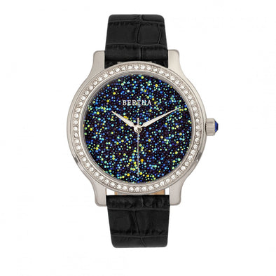 Bertha Cora Crystal-Encrusted Leather-Band Watch - Black BTHBR6001