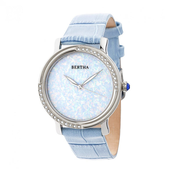 Bertha Courtney Opal Dial Leather-Band Watch - Powder Blue BTHBR7902