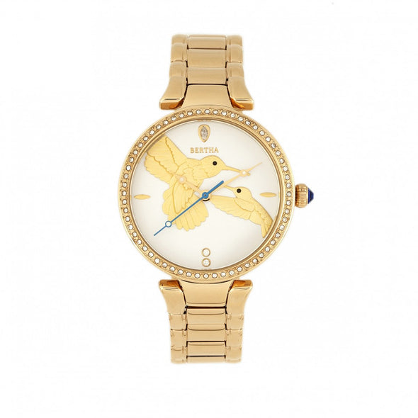 Bertha Nora Bracelet Watch - White/Gold BTHBR8502