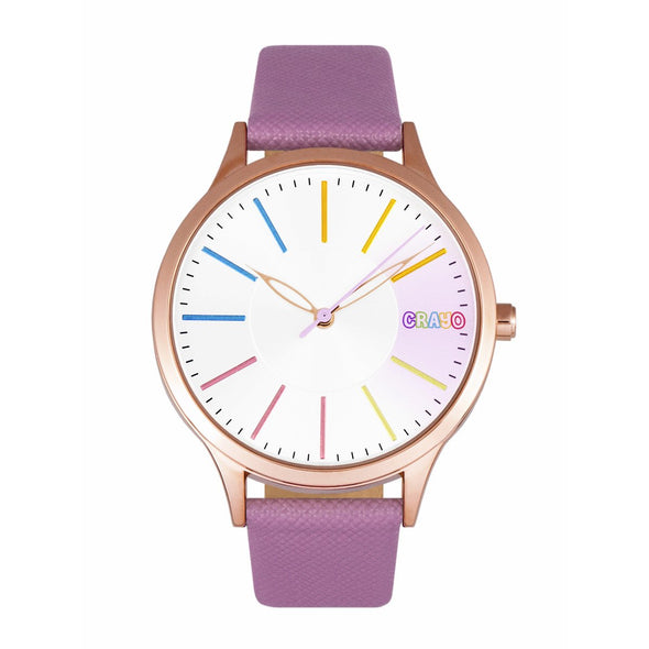 Crayo Gel Leatherette Strap Watch - Purple CRACR5106