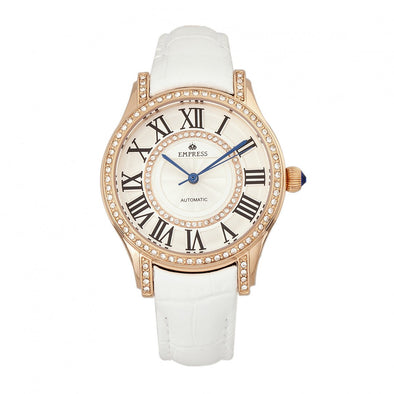 Empress Xenia Automatic Leather-Band Watch - White EMPEM2604