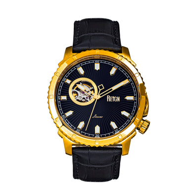 Reign Bauer Automatic Semi-Skeleton Leather-Band Watch - Gold/Black REIRN6004