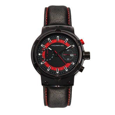 Morphic M91 Series Chronograph Leather-Band Watch w/Date - Black/Red - MPH9104 MPH9104