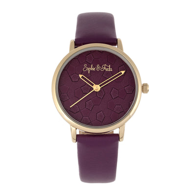 Sophie & Freda Breckenridge Leather-Band Watch - Gold/Purple SAFSF4705
