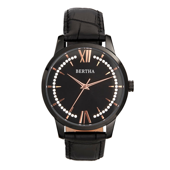 Bertha Prudence Leather-Band Watch - Black BTHBS1405