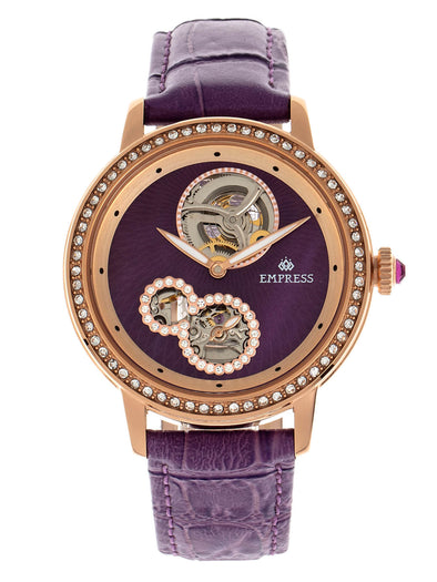 Empress Tatiana Automatic Semi-Skeleton Leather-Band Watch - Purple EMPEM2905