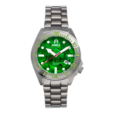 Shield Atlantis Abalone Bracelet Watch w/Date - Green SLDSH108-3