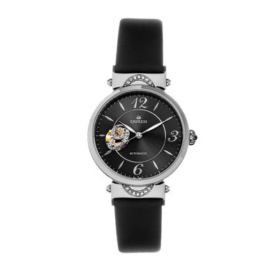 Empress Alouette Automatic Semi-Skeleton Leather-Band Watch - Black EMPEM3404