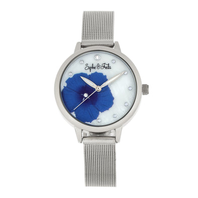 Sophie and Freda Raleigh Mother-Of-Pearl Bracelet Watch w/Swarovski Crystals - Blue SAFSF5702