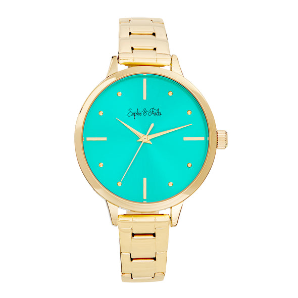 Sophie and Freda Milwaukee Bracelet Watch - Gold/Teal SAFSF5804