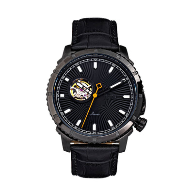 Reign Bauer Automatic Semi-Skeleton Leather-Band Watch - Black REIRN6007