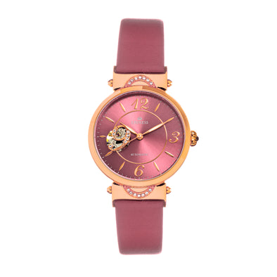Empress Alouette Automatic Semi-Skeleton Leather-Band Watch - Pink EMPEM3406