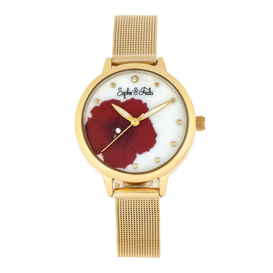 Sophie and Freda Raleigh Mother-Of-Pearl Bracelet Watch w/Swarovski Crystals - Red SAFSF5703