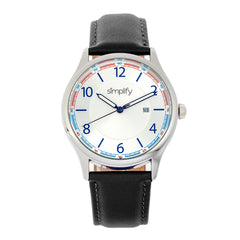 Simplify The 6900 Leather-Band Watch w/ Date - White SIM6901
