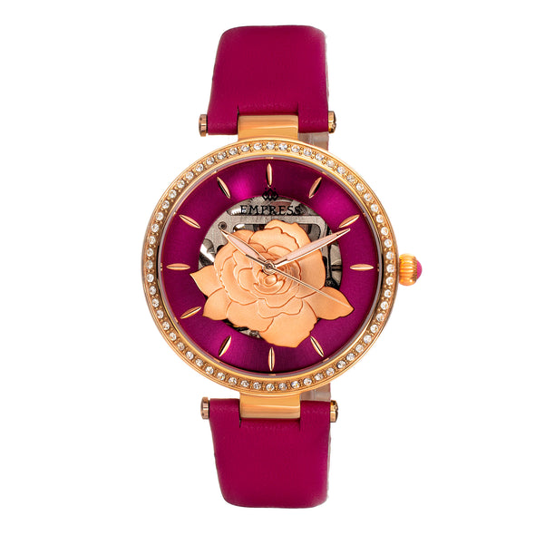 Empress Anne Automatic Semi-Skeleton Leather-Band Watch - Hot Pink EMPEM3105