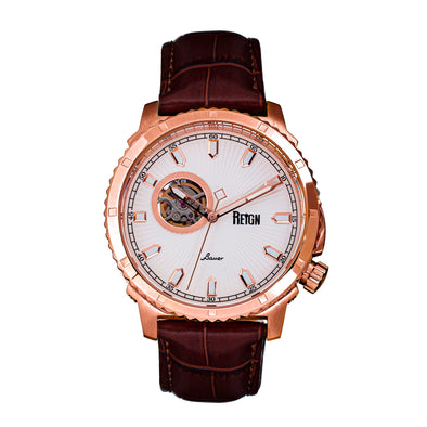 Reign Bauer Automatic Semi-Skeleton Leather-Band Watch - Rose Gold/White REIRN6005