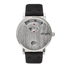 Simplify The 7000 Genuine Leather Watch - Silver/Black SIM7001