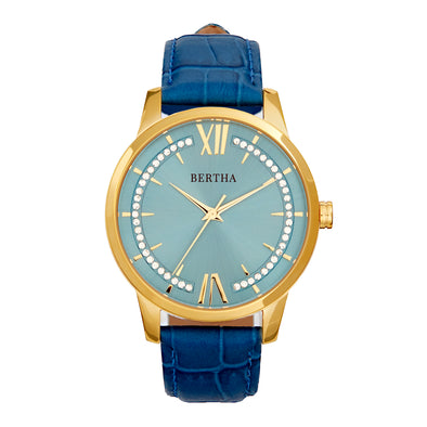 Bertha Prudence Leather-Band Watch - Blue BTHBS1402