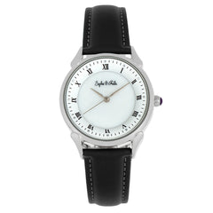 Sophie and Freda Mykonos Mother-Of-Pearl Leather-Band Watch - Black SAFSF5501