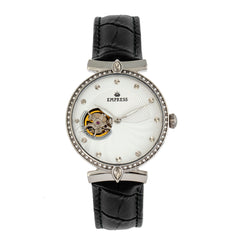 Empress Edith Semi-Skeleton Leather-Band Watch - White EMPEM3301
