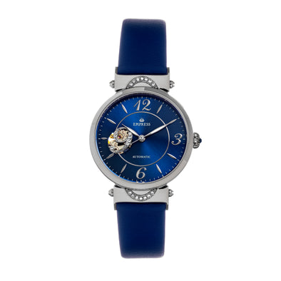 Empress Alouette Automatic Semi-Skeleton Leather-Band Watch - Blue EMPEM3402