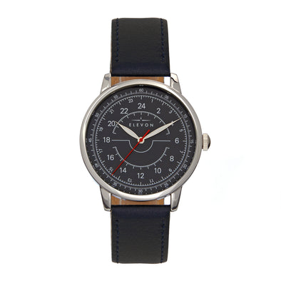 Elevon Gauge Leather-Band Watch - Silver/Navy ELE122-3