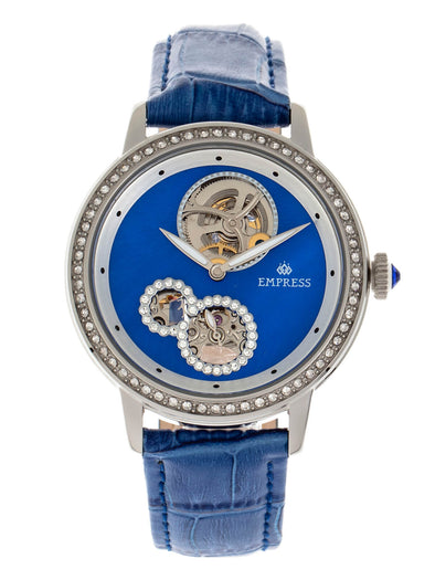 Empress Tatiana Automatic Semi-Skeleton Leather-Band Watch - Blue EMPEM2902