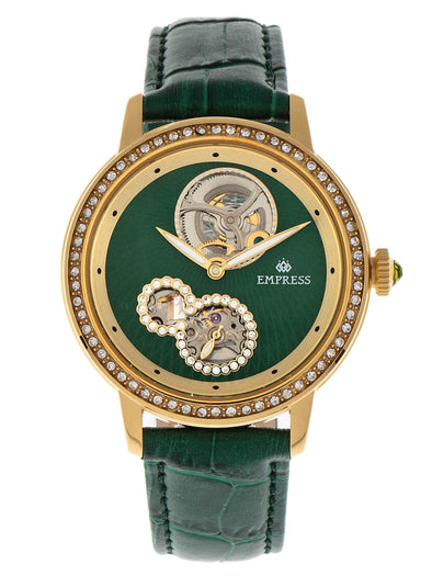 Empress Tatiana Automatic Semi-Skeleton Leather-Band Watch - Green EMPEM2904
