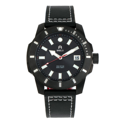 Shield Shaw Leather-Band Men's Diver Watch w/Date - Black SLDSH106-5
