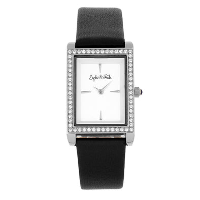 Sophie and Freda Wilmington Leather-Band Watch w/Swarovski Crystals - Black SAFSF5604