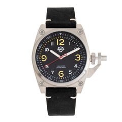 Shield Pascal Leather-Band Men's Diver Watch - Black/Silver SLDSH102-1
