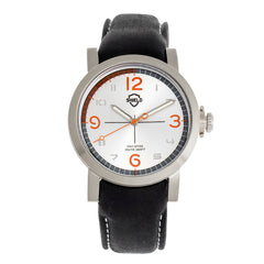 Shield Berge Leather-Band Men's Diver Watch - Silver SLDSH101-1