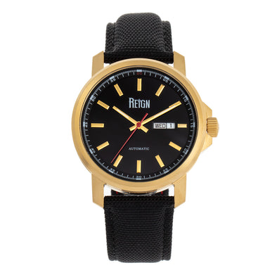 Reign Helios Automatic Leather-Band Watch w/Day/Date - Gold/Black REIRN5706