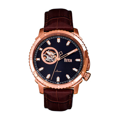 Reign Bauer Automatic Semi-Skeleton Leather-Band Watch - Rose Gold/Black REIRN6006