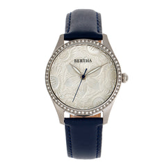 Bertha Dixie Floral Engraved Leather-Band Watch - Blue BTHBR9902