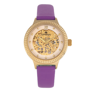 Empress Alice Automatic MOP Skeleton Dial Leather-Band Watch - Purple EMPEM3205