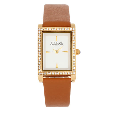 Sophie and Freda Wilmington Leather-Band Watch w/Swarovski Crystals - Brown SAFSF5605