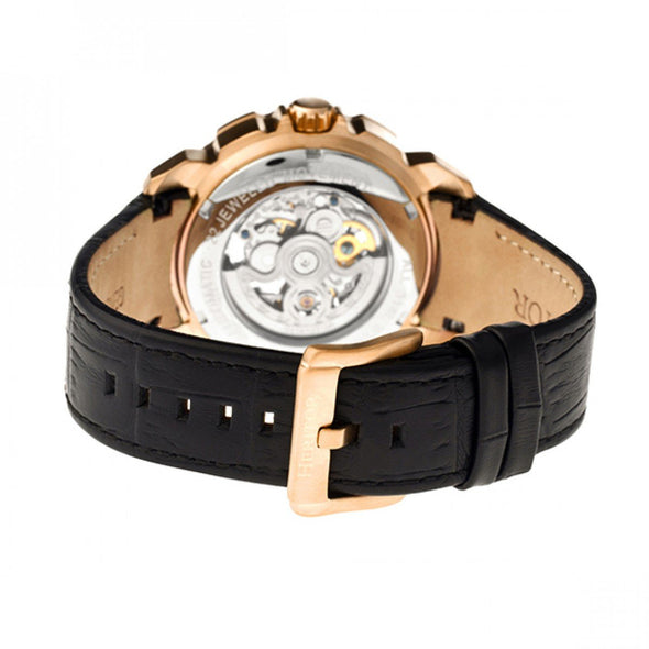 Heritor Automatic Conrad Skeleton Leather-Band Watch - Rose Gold/Black HERHR2506